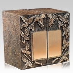 Companion urn for a committed couple, bronze front, zinc body, priced well at $990, Memorials.com.